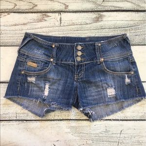 Almost Famous denim distress destroyed shorts 7